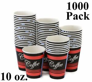 1000 Pack 10 Oz Eco Friendly Poly Paper Disposable Hot Tea Coffee Cups No Lids