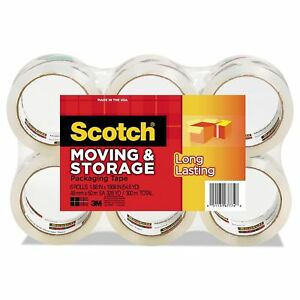Scotch Moving Storage Tape 1 88 x 54 6yds 3 Core Clear 6 Rolls pack No Tax