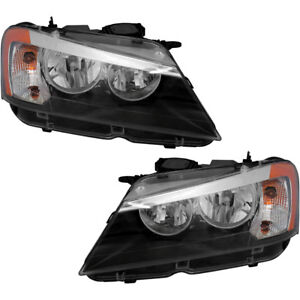 Halogen Headlights Headlight Assembly New Pair Set For 2011 2014 Bmw X3