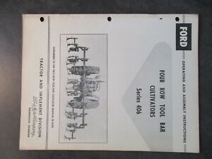 Ford 4 Row Tool Bar Cultivators Operating And Assembly Instructions
