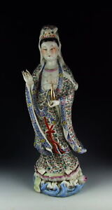 China Antique Famille Rose Porcelain Kuanyin Standing Buddha Statue