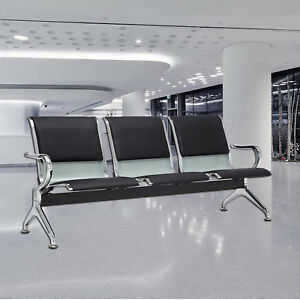 Black 3 seat Bench Airport Office Reception Waiting Chair W Pu Leather Cushion