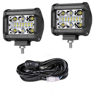 4 200w Quad Row Led Work Light Bar Pods Flood Spot 6500k Driving Fog Off Road