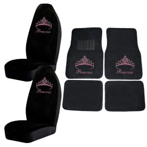 Pink Princess W Crown For Girls Crystal Rhinestone Floor Mats Seat Covers Combo