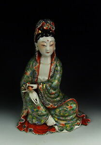 China Antique Famille Rose Porcelain Kuanyin Statue