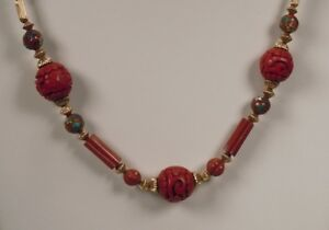 Vintage Chinese Carved Cinnabar Cloisonne Gold Bead Necklace