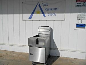 Pitco Sg18f Natural Gas 85 Lb Stainless Steel Floor Fryer 2537
