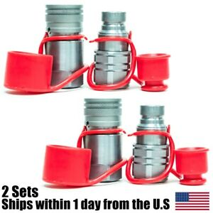 3 4 Npt Skid Steer Bobcat Flat Face Hydraulic Quick Connect Coupler 2 Sets