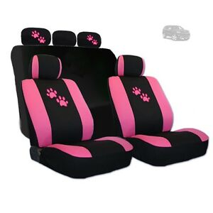 For Jeep New 2 Tone Front And Rear Seat Covers With Pink Paws Logo Set