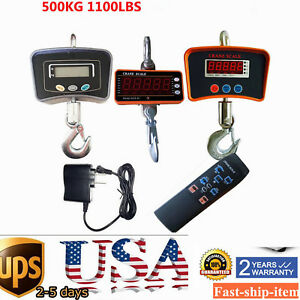 500kg 1100lb Digital Crane Scale Heavy Duty Industrial Hanging Weight Measure Us