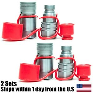 1 2 Npt Skid Steer Bobcat Flat Face Hydraulic Quick Connect Couplers 2 Sets