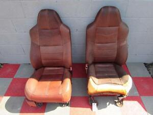 08 10 Ford F450 Sd King Ranch Pair Front Leather Seats Damaged Seat Cover