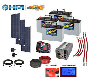 3360 Watt Solar Panel System w 4 Batteries Complete Kit Diy