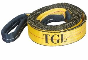 New 2 x20ft Tow Strap W loop Ends 10 000 Lb Capacity Recovery Rescue Winch Sling