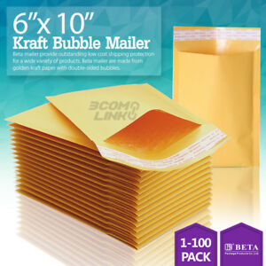 0 6x10 Kraft Bubble Mailer Padded Self Seal Shipping Bag Envelope 25 50 100 Pcs