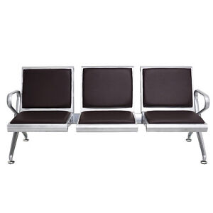 2 3 seat Bench Airport Office Reception Waiting Chair W Pu Leather Cushion