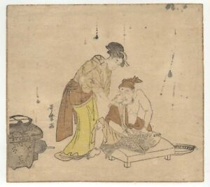 Utamaro Bijin Watching Man Fillet Ca 1780 Japanese Woodblock Print Ukiyoe