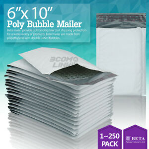 0 6x10 Poly Bubble Mailer Padded Envelope Shipping Bag 6 x10 25 50 100 250 Pcs