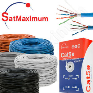 Cat5e 1000ft Cable Bulk Utp Ftp Ethernet Network Lan Wire Rj45 Solid 24awg Cat 5