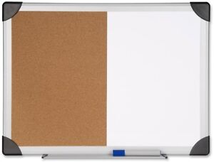 Dry Erase Cork Bulletin Board Combination Smooth Writing Surface 24 In X 36 in