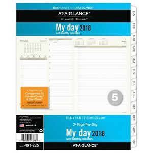 At a glance Day Runner Daily Planner Refill Two Page Per Day Loose Leaf 2018