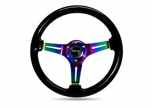 Nrg 350mm Steering Wheel Black Classic Wood Grain Neo Chrome 3 Spoke Center