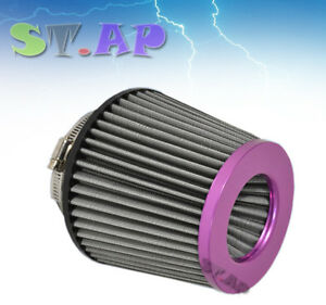 Universal 4 Inch Dry Short Ram Turbo Cold Air Flow Intake Filter Purple Black