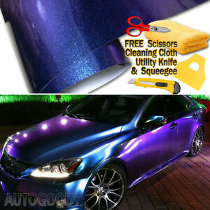 Premium Gloss Metallic Chameleon Purple Blue Vinyl Film Wrap Air Bubble Free