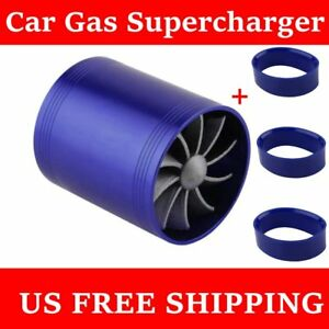 Blue F1 Z Double Turbine Turbo Air Intake Gas Fuel Saver Fan Supercharger Hm Us
