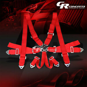 6 point 3 Wide Red Strap Harness Safety Camlock Style Racing Seat Belt bolts