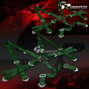 2x 6 point 3 wide Green Strap Harness Safety Camlock Style Racing Seat Belt bolt