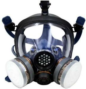 Full Face Respiratory Protection Gas Chemical Mask W activated Carbon Respirator