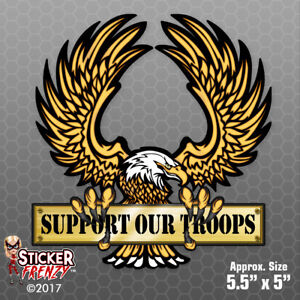 Support Our Troops Eagle Sticker Usa Car Vinyl Decal Window Bumper Fs2056
