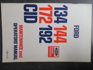 Ford 134 144 172 192 Cid Maintenance And Operator s Manual