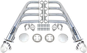 New Lake Style Chrome Plated Headers W Ceramic Turnouts Sbf 260 351w V 8 Gt40p