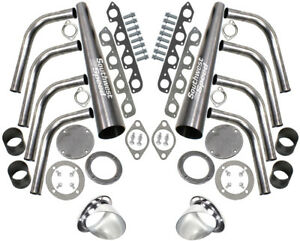 New Sbf Lake Style Header Kit 351 Cleveland 2 Barrel 351c 3 1 2 Ceramic Turnouts