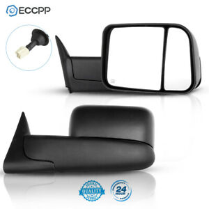 Side Mirrors Power Heated Tow For Dodge Ram 98 01 1500 98 02 2500 3500 Pair