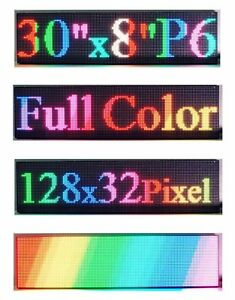 P6 Full Color 30 x 8 Indoor Led Sign Programmable Scrolling Message Display