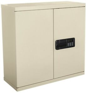Wall Storage Cabinet 30x30x12in Steel Keyless Electronic Coded Lock Keypad Putty