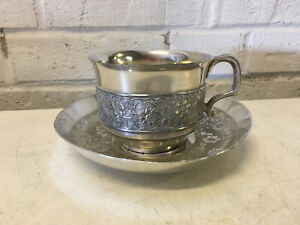 Antique James W Tufts Silver Plated Cup Saucer W Floral Decoration