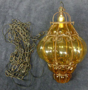 17 Antique Caged Amber Bubble Glass Globe Hanging Pendant Lamp Light 12 Chain