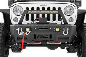 Rough Country Jeep Front Stubby Led Winch Bumper W hoop Chrome Series 07 17 Jk