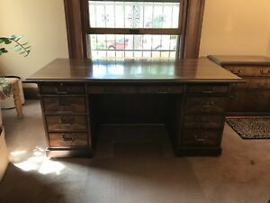 Executive Kimball Desk With Matching Filing Cabinet