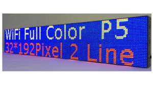 Led Sign Wifi P5 Hd Full Color 38 x 6 5 Programmable Scrolling Message Display
