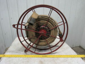 Swing Type 26 1 2 Large Fire Hose Storage Reel W 75 Hose Nozzle