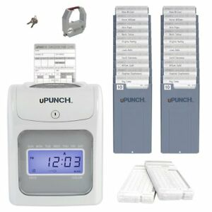 Calculating Employee Time Punch Clock Bundle W 100 Cards 2 10 Slot Card Racks