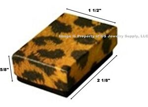Lot 500 Small Leopard Print Cotton Fill Jewelry Gift Boxes 1 7 8 X 1 1 4 X 5 8