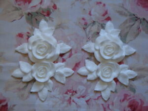 New Shabby Chic Xlg Carved Rose Leaf Set Drops Pediment Furniture Applique
