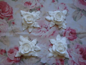New Shabby Chic Xlg Carved Rose Leaf Corners 4pc Pediment Furniture Applique