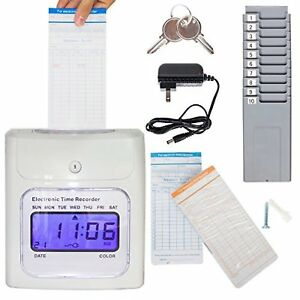 Time Clock In out System For Employees Payroll Machine Punch Cards Work Recorder